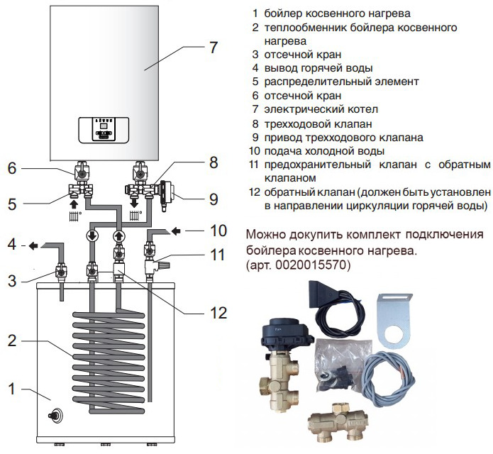 Схема подключения бойлера косвенного нагрева с одноконтурным котлом протерм